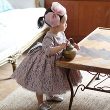 Baby Girl Dress Vintage Beaded Baptism Dresses for infant Girls 1st year birthday party wedding Christening Gowns Clothes bebes(China)