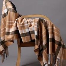 Oversize Classic Plaid women scarf Cashmere Shawl men