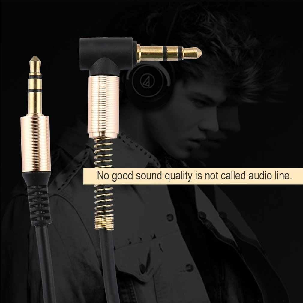 3.5mm Jack 1M AUX Audio kabel męski na męski kabel wtyczki złota przewód wiosna kabel Audio do telefon głośnik samochodowy słuchawki