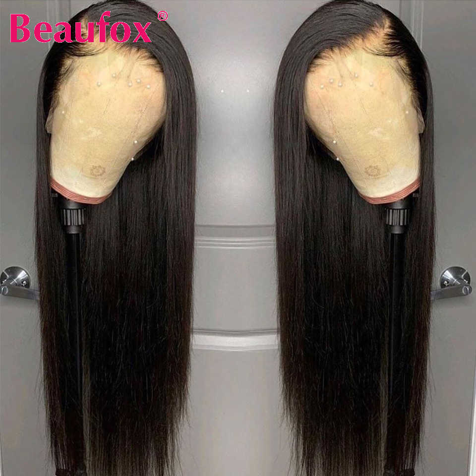 Beaufox Straight Lace Front Wigs For Black Women Brazilian Lace Front Human Hair Wig Baby Hair 13x4 Human Lace Wig 150% Remy