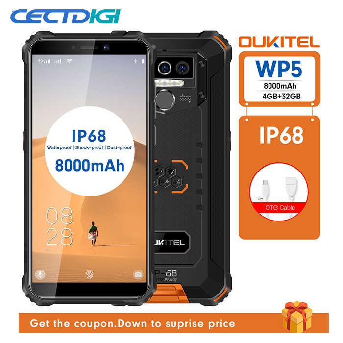 Oukitel WP5 IP68 Tahan Air 4GB 32GB Android 9.0 8000 MAh 5.5 ''Hd + 18:9 Quad Core 13MP MT6761 Tri Tahan 5V/2A 4G Mobile Ponsel