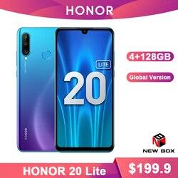 Huawei Honor 20 Lite 4GB 128GB wersja globalna przód 32MP Kirin 710 Octa Core Android 9.0 twarz ID telefon komórkowy 24MP tylna kamera