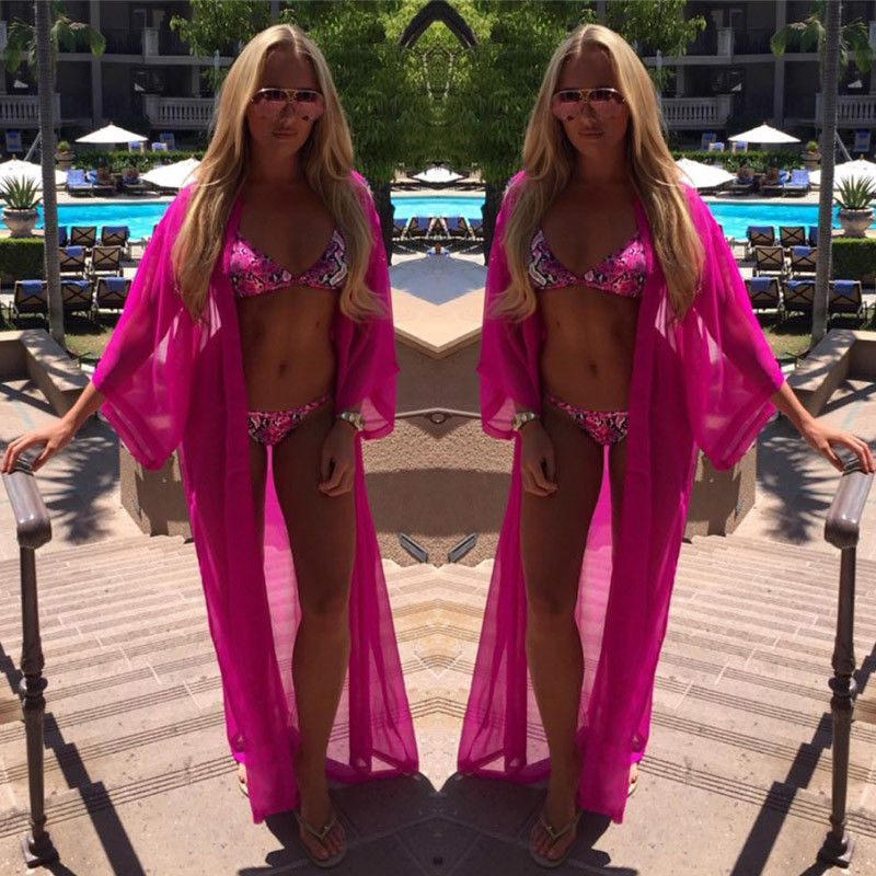 2020 Summer Beach Cover Up Women Chiffon Dress Robe Plage Candy Color Kaftan Bikini Cover-up Tunic Sarong Swimsuit