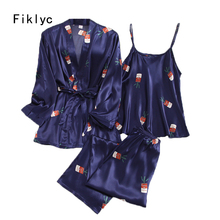 Fiklyc underwear three-pieces women's pajamas sets vetement