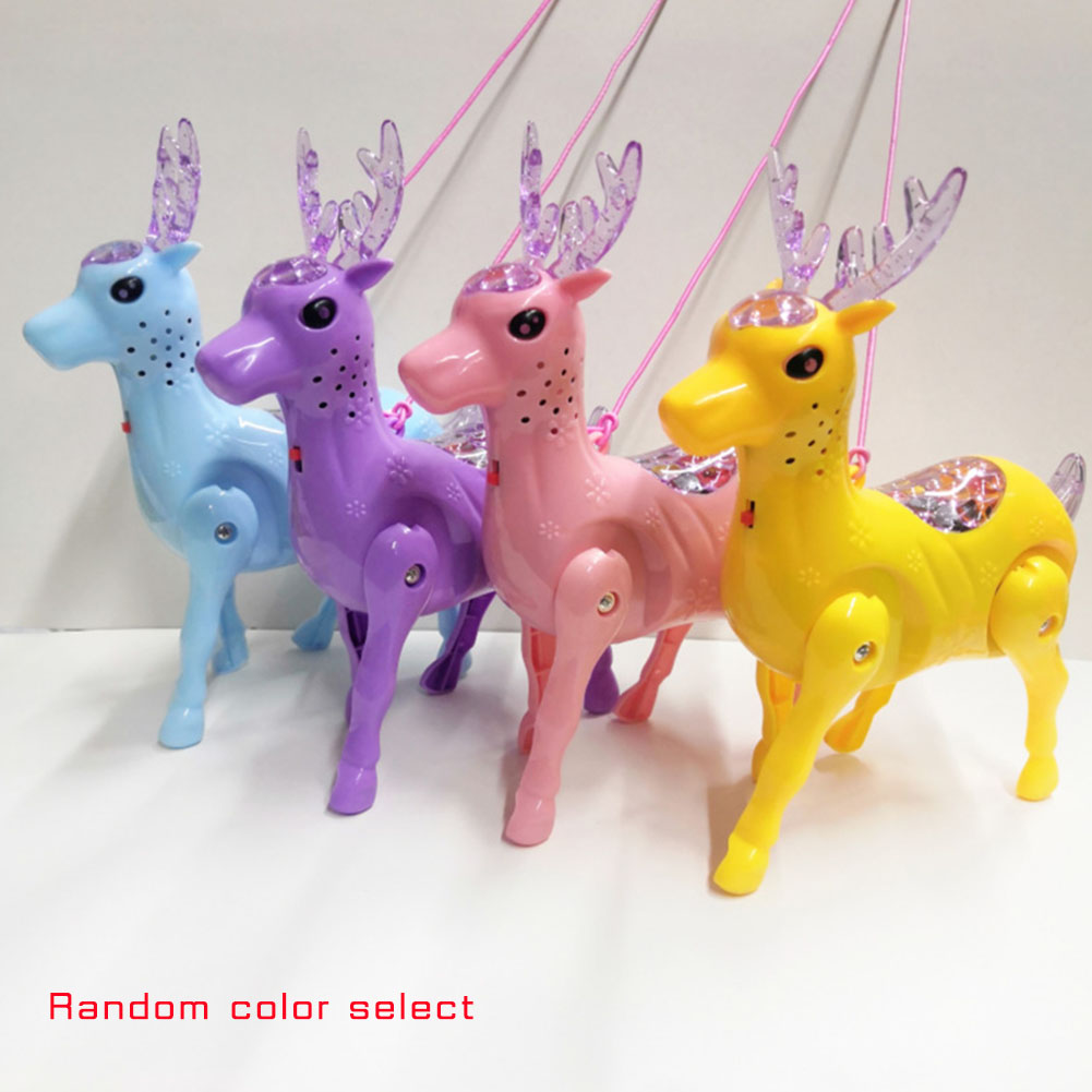 2019 Cute Flashing Music Deer Pet Toys Electronic Robotic Funny Animals Toy With Rope Light For Kids Gift Walking Pet 4 Colors