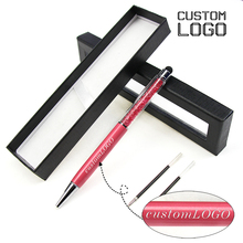 1Set Crystal Capacitor Pen Free Custom LOGO Ballpoint Pen Multifunctional Metal Gifts Pens With Pen Box New Student Stationery free shipping quality wool pen multifunctional pen multifunctional pen 5035 1 5kg storage box