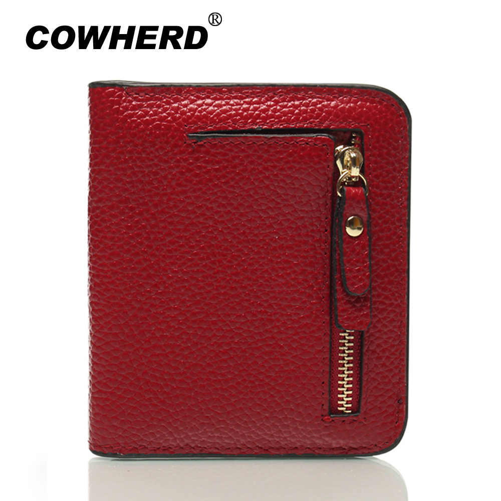 COWHERD Women's RFID Blocking Small Compact Bifold Leather Pocket Wallet Ladies Mini Purse With Id Window