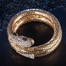 1pc Hot Popular Punk Gold Color Snake Bangle Retro Club Snake Spiral Bracelet Upper Arm Cuff Armlet Armband Bangle Jewelry Gifts
