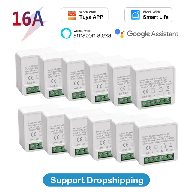Tuya MINI Wifi Smart Switch 16A 2-way Control Timer Wireless Switches Smart Life Automation Compatible With Alexa Google Home 1