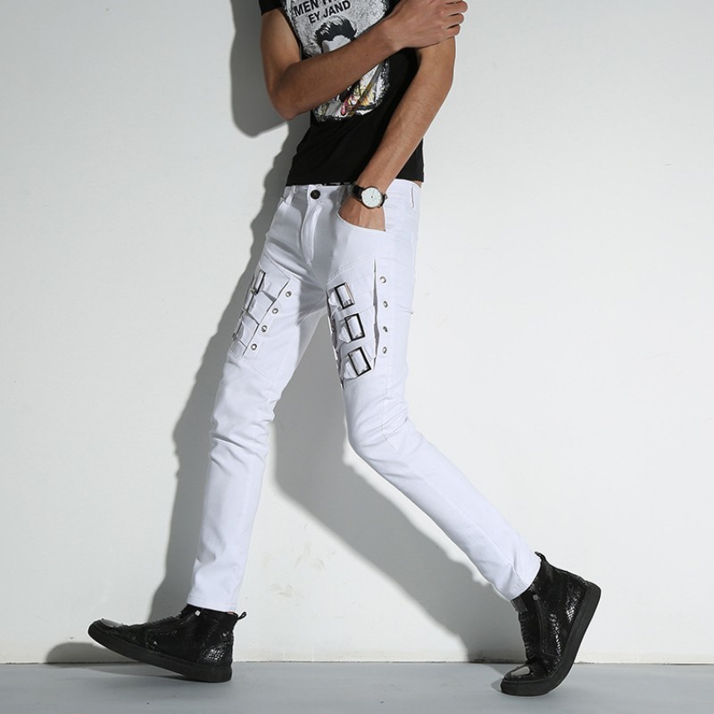 Autumn New Brand White Patchwork Punk Style Mens Pencil Pants Full Length Fashion Night Club Wear Slim Fit Stretch Male Trousers