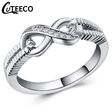 Cuteeco Fashion Silver CZ Zircon Infinity Endless Love 8 Shaped Rings For Women Wedding Ring Anel Feminino