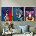 Абстрактная красочная девушка Настенная картина холст, скандинавский плакат, цветок, рамки, настенные картины для гостиной, винтажные, без ...