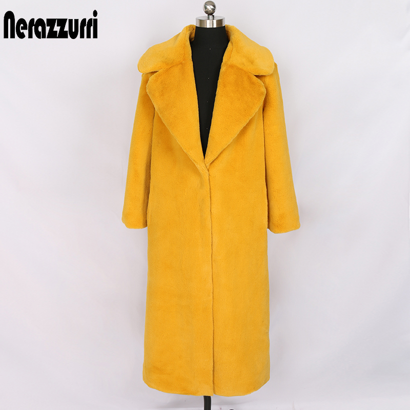 Nerazzurri Long Womans Plus Size Faux Rabbit Fur Coat Yellow Black Grey Colored Fluffy Teddy Coat Women's Faux Fur Winter Coats