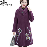 UHYTGF Quality mink cashmere autumn winter wool coat women embroidered noble cashmere warm long jacket thick plus size coats 633