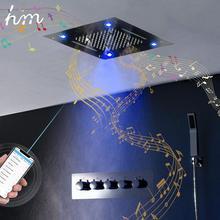 Hm lüks müzik duş sistemi banyo duş musluk Led yağış termostatik duş bataryası masaj müzik duş vücut jetleri