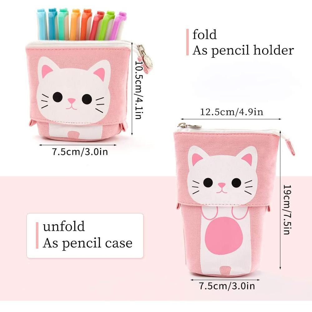 Angoo [Fun] Pen Pencil Bag Case, Cartoon Cute Cat Bear Sheep Canvas Fold Standing Holder Stationery Organizer Kids Gift A6445 3