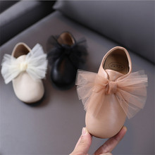 New Autumn Kids Shoes For Girls Leather Net Yarn Bow-knot Grils Princess Shoes Soft Bottom Cute Fashion Toddler Baby Shoes