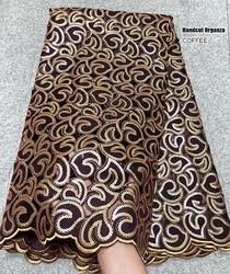 5 yards Zachte koffie Handgesneden Afrikaanse Organza kant Stof met pailletten Nigeriaanse Ghana occasionele naaien wear hoge kwaliteit