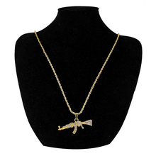 HipHop Rhinestone Paved Bling Gold  Stainless Steel Ak 47 Gun Pendants Necklace For Men Rapper Best Jewelry Choker