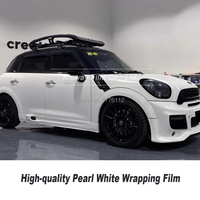 High quality satin pearl white wrapping film satin white car wrap vinyl low initial tack adhesive stretching Air free bubbles