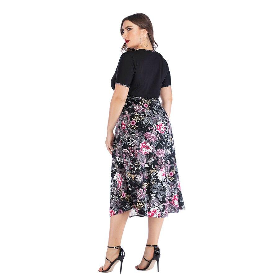 Retro Print V Neck Dress Women Plus Size 5XL Fashion Patchwork Summer Dress Female Casual Loose Robe Ladies Elegant Maxi Dresses in Dresses from Women 39 s Clothing