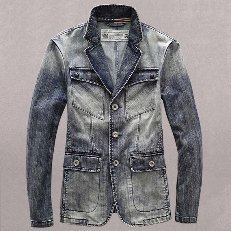 영국 빈티지 남성 장 재킷 브랜드 디자이너 크고 키가 큰 남성 데님 정장 재킷과 코트 플러스 크기 3XL 남성 오버 코트 C1479