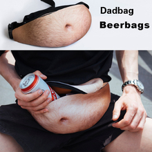 Novelty Beer Fat Belly Waist Bag Fun Fanny Pack 3D Woman Dadbag Hairy Pockets Bags