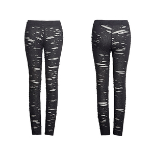 Image 5 - Женские готические леггинсы в стиле панк RAVE, эластичные вязаные дышащие рваные брюки черного, красного цветов в стиле стимпанк