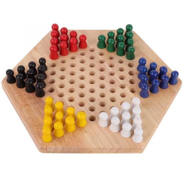 Jeu de dames chinois en bois conseil éducatif enfants classique Halma jeu de dames chinois stratégie famille jeu pièces Backgammon 1