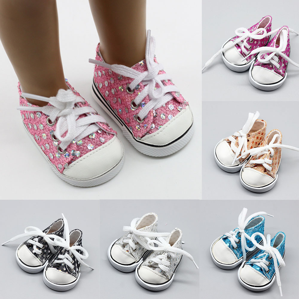 18 Inch Girl Doll Shoes Pink White Blue Purple Black Yellow Shoes For 43CM Baby Doll Handmade Sneakers Girl Clothes Accessories