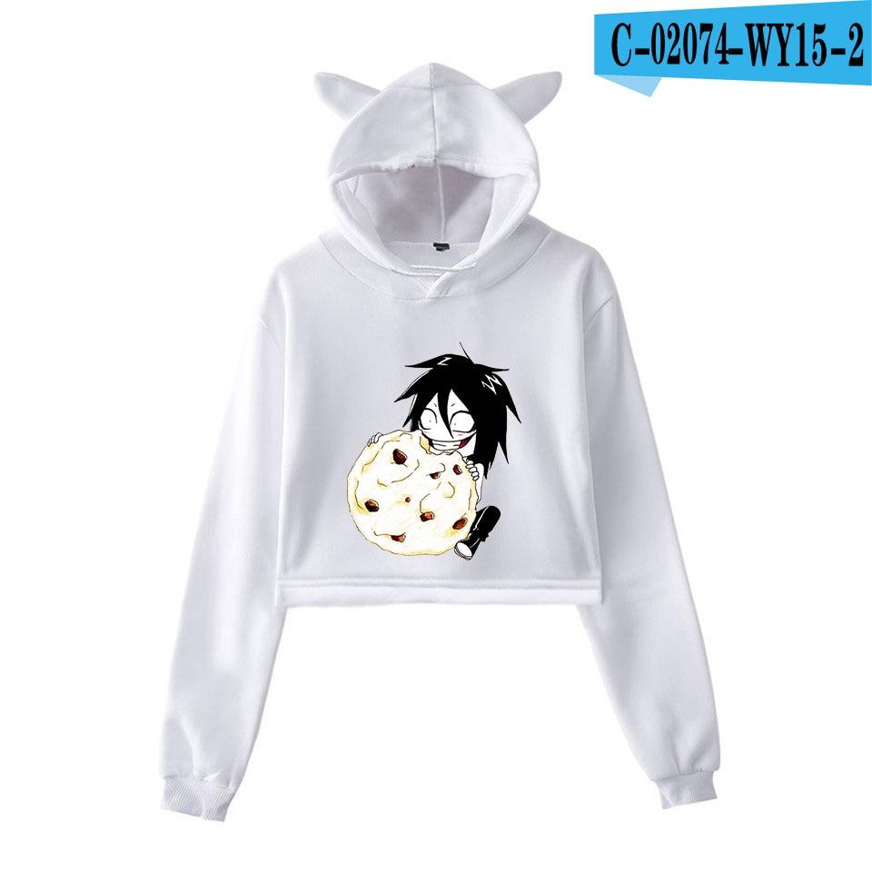 unique horror atmosphere of black humor creepypasta  print fashion trend Cat ears Top Women Hoodies Sweatshirt Sexy clothes 8