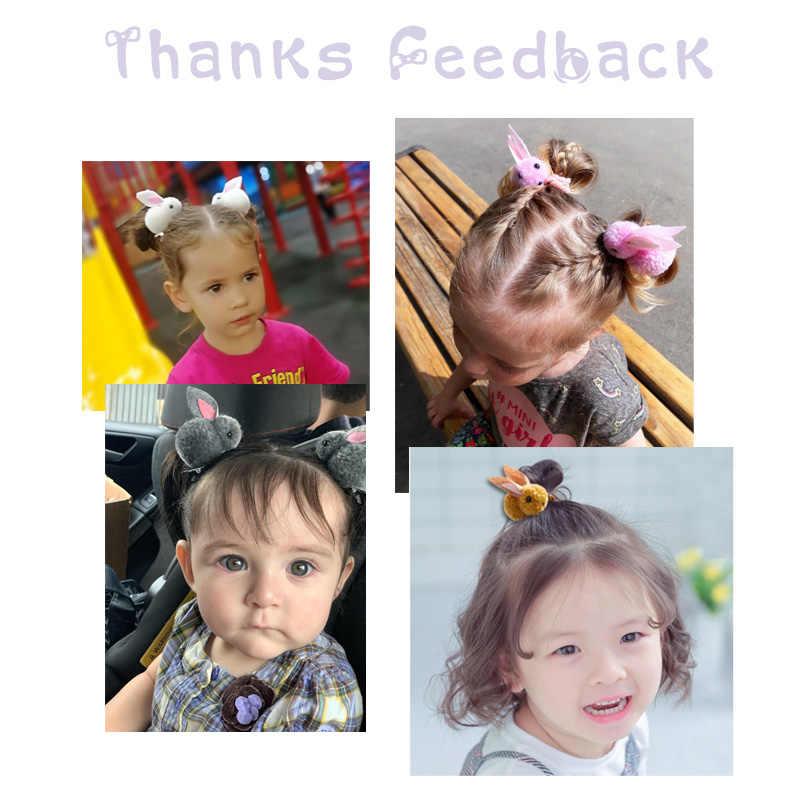 Pinces à cheveux pour enfants coréens mignon lapin élastique cheveux bandes de caoutchouc hiver en peluche lapin épingles à cheveux bandeau filles accessoires de cheveux