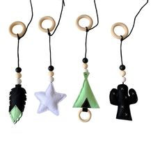 4Pcs/set Solid Wood Fitness Rack Pendant Children Room Decoration Baby Gym Toy Hanging Ornaments