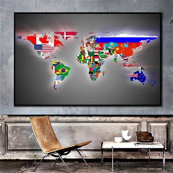 A1 Non-woven Map of The World Premium Personalized Wall Sticker Poster World Maps with Flags for Culture and Travel Supplies flags of the world