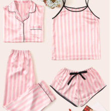 Youhottest Pink Stripe Women 4 pieces Silk pajamas Set