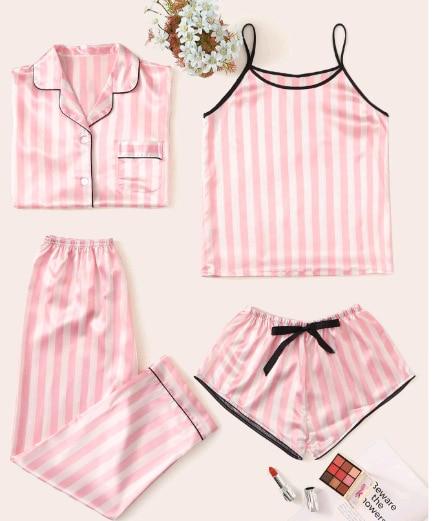 Youhottest Pink Stripe Women 4 Pieces Silk Pajamas Set