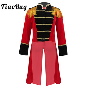 Image 1 - Kids Halloween Long Sleeves Stand Collar Fringes Gold Trimmings Tailcoat Jacket Boys Roleplay Party Ringmaster Circus Costume