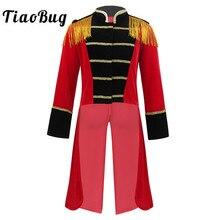 Çocuklar cadılar bayramı uzun kollu standı yaka saçaklı altın süslemeler Tailcoat ceket erkek Roleplay parti Ringmaster sirk kostüm