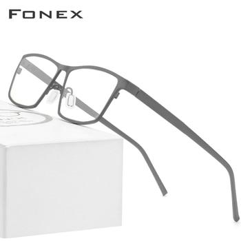 FONEX Pure Titanium Glasses Frame Men 2020 Prescription Eye Glasses for Men Square Eyeglasses Myopia Optical Frames Eyewear 871 ee women titanium eyewear frames round frame glasses titanium frame optical glasses oculos de grau clear eyeglasses