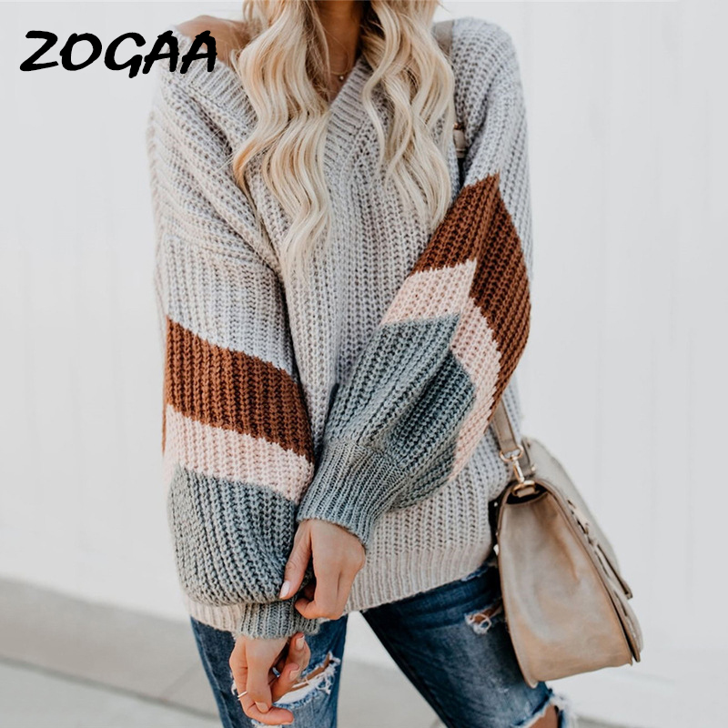 ZOGAA Fashion Striped V Neck Pullover Women 2019 Autumn Winter Gray Long Sleeves Sweaters Female High Street Loose Mujer Jumper