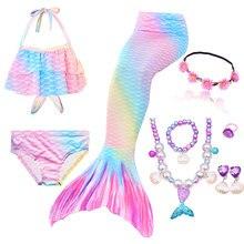 Dzieci syrenka strój kąpielowy dziewczyny w Bikini ogon syreny z żebrowane strój kąpielowy odzież dziecięca dwuczęściowy strój kąpielowy ogon syreny odzież stroje kąpielowe