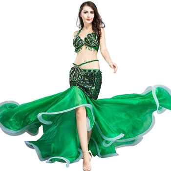 Hot Sale Professional Belly Dance Clothing for Indian Performance Outfits Bollywood Dancer Belly Dance Costumes Sequined WQ8808