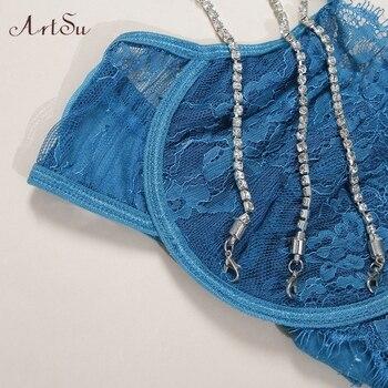 ArtSu Sparkle Chain Push Up Bra And Panty Set Women Bodycon Intimates Lingerie Set Underwear Bralette Lace Brief Set ASSU60169 4