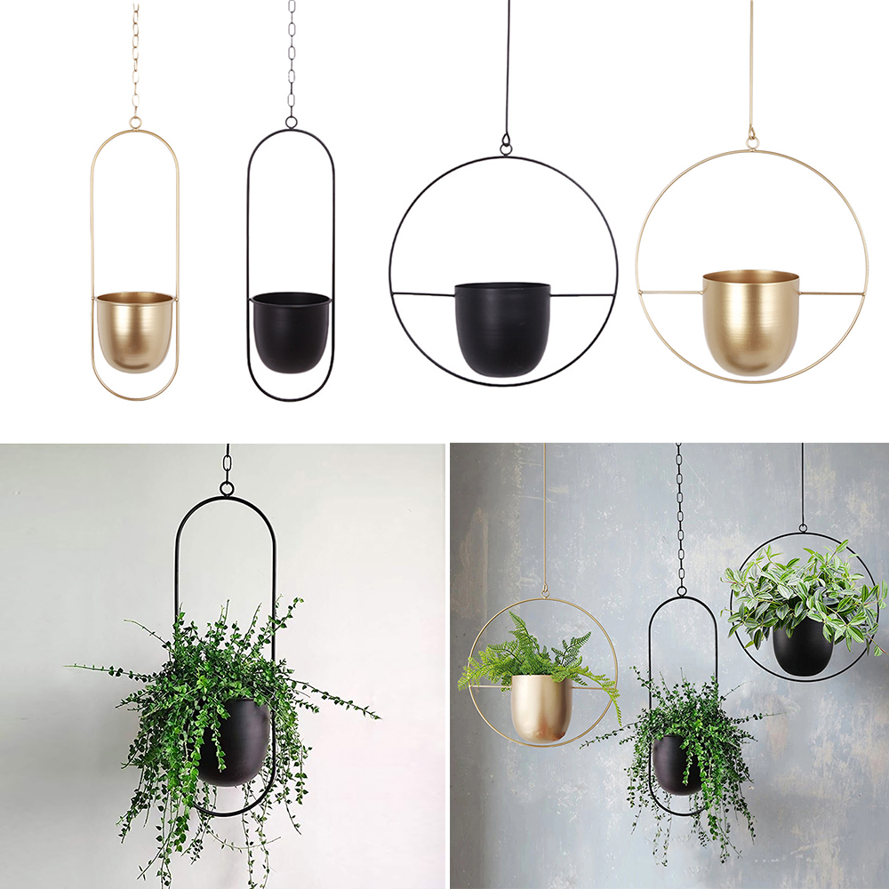1601.0¥ 36% OFF Iron Hanging Flower Pot Decorative Swinging Flower Basket Wall Hanging Flower Pot D...