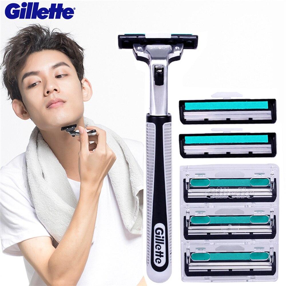 Gillette Vector rasoir pour hommes rasage lames de rasoir (1 support 5 lame) manuel sécurité rasoirs soins du visage barbe rasoirs