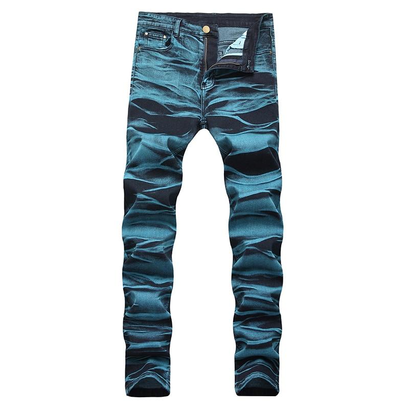 Men's Colored Tie And Dye Slim Jeans Trendy Plus Size Painted Denim Pants