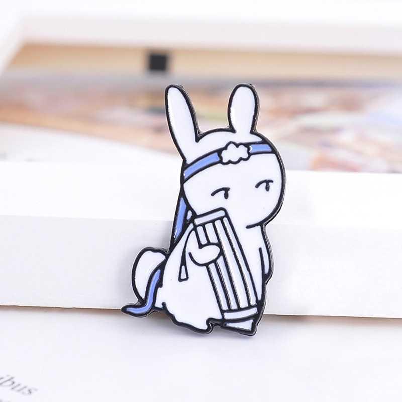 الكرتون الأرنب Modaozhushi الاكريليك weiwuxian Lan زان شارات بروش دبابيس الساحرة على ظهره القماش
