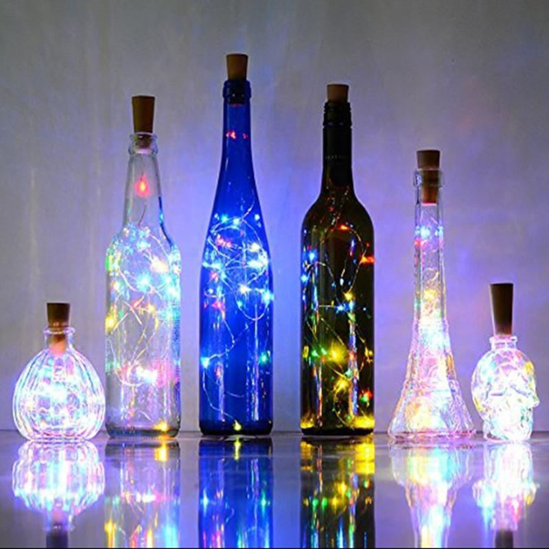2M 20 LEDS Wine Bottle Lights Cork Garland DIY LED Cork Shape Silver Copper Wire Colorful Fairy Mini String Lights