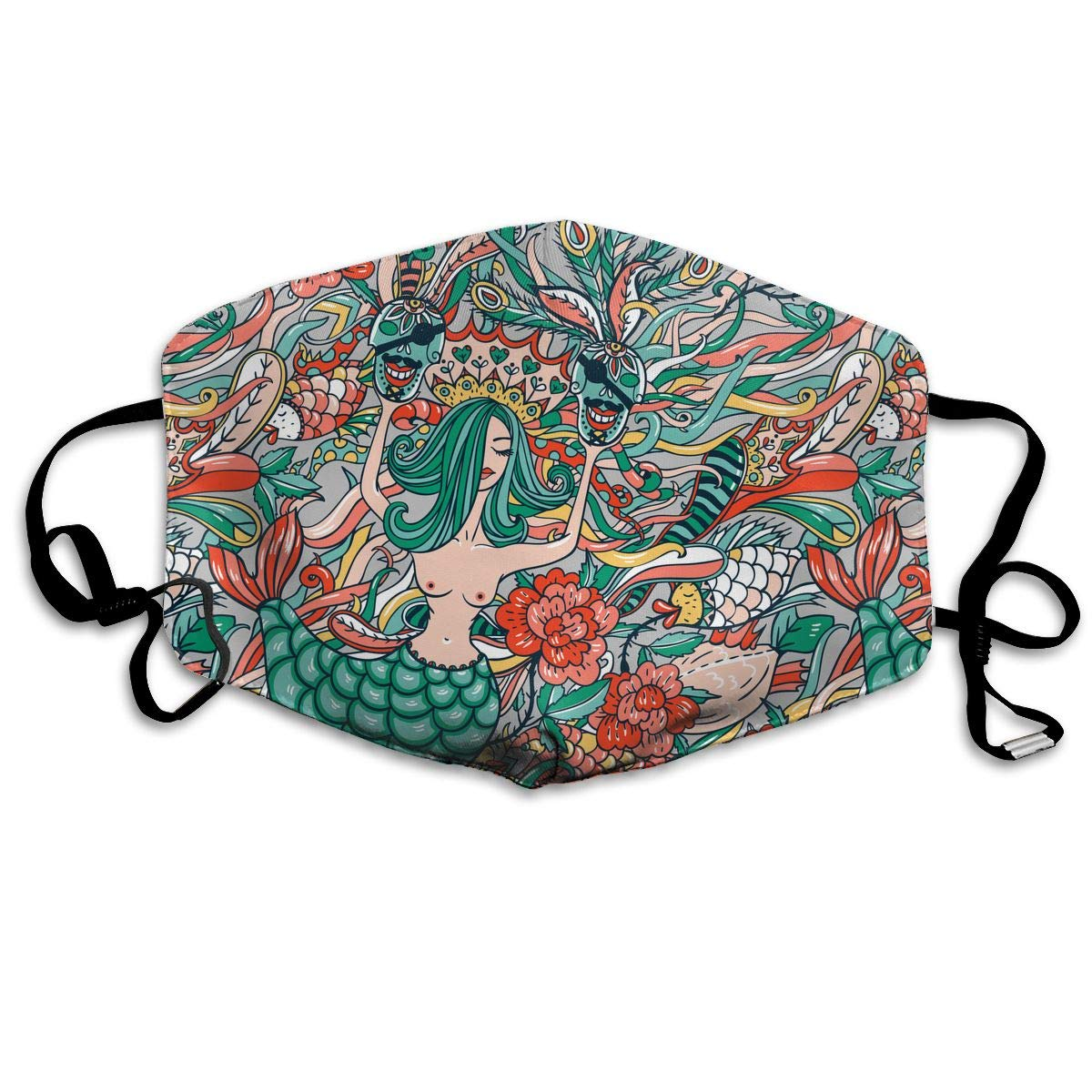Beautiful Mermaid Washable Reusable   Mask, Cotton Anti Dust Half Face Mouth Mask For Kids Teens Men Women With Adjustable Ear