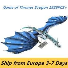 Figurine de Dragon dans Game of Thrones pour enfant, cadeau de noël, blocs de construction de film, jouet en brique, modèle black death, viserion, K89, K90, 1889 pièces,